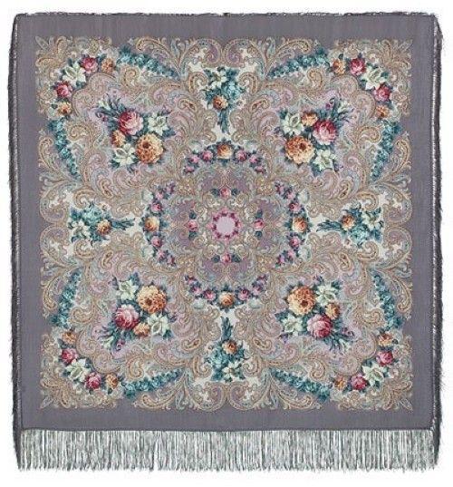 Павловопосадский платок - Тайна сердца , шелковая бахрома, 125*125см