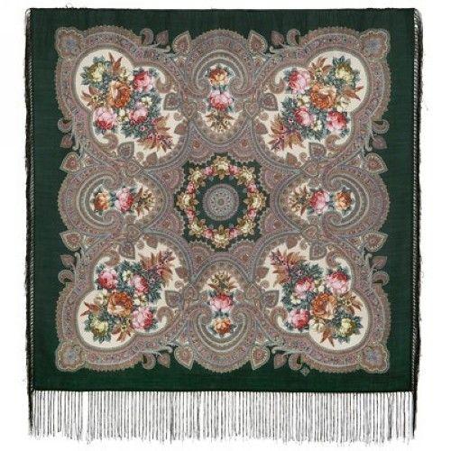 Павловопосадский платок. Зеленый. Свидание с летом. Шелковая бахрома, 89*89 см