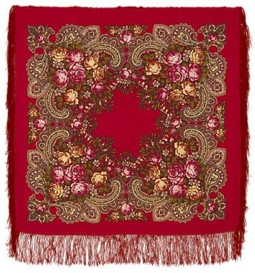 Павловопосадский платок. Красный. Незнакомка. Шелковая бахрома, 89*89 см