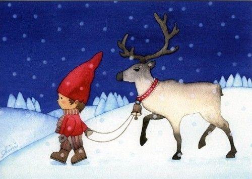 Открытка: Мальчик и северный Олень/Boy and Reindeer(большая)