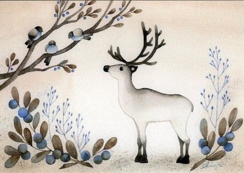 Открытка: Северный олень (маленькая)