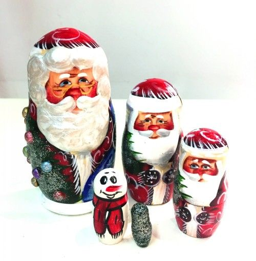 Матрешка Дед Мороз, 5 мест (маленький)