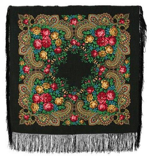 Павловопосадский платок. Черный. Незнакомка. Шелковая бахрома, 89*89 см