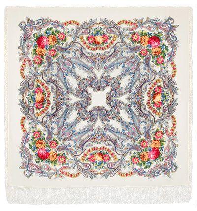 Павловопосадский платок - Сон бабочки (белый) , шелковая бахрома, 125*125см