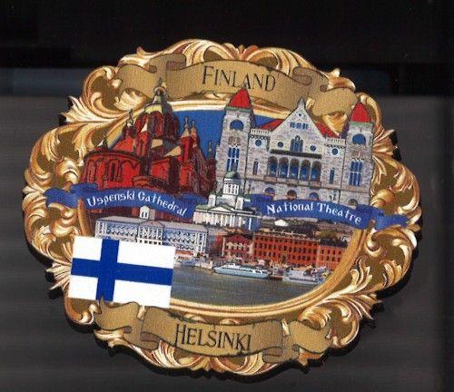 Магнит овальный деревянный - Хельсинки