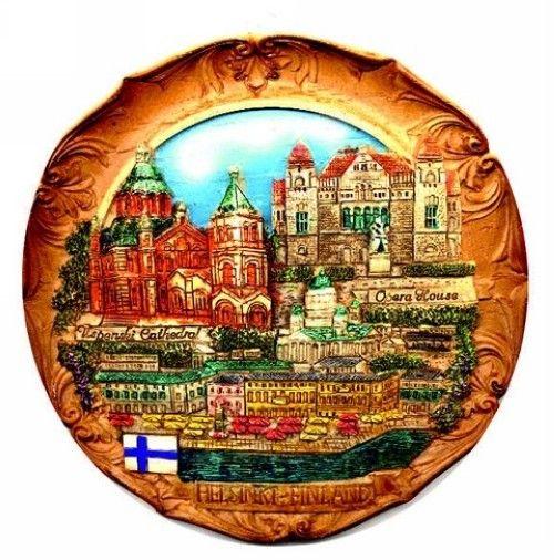 Сувенирный керамический магнит Хельсинки, 7,5 см