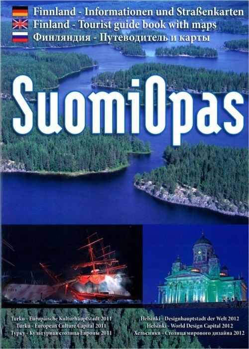 SuomiOpas. Finland. Tourist guide with maps. All text in Russian, German and in English.