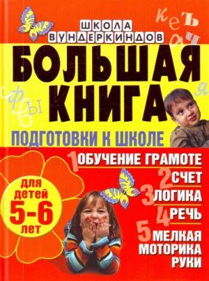Bolshaja kniga podgotovki k shkole dlja detej 5-6 let. Obuchenie gramote, schet, logika, rech, melkaja motorika ruki