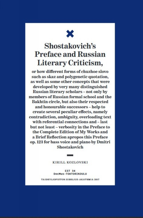 Shostakovich's Preface and Russian Literary Criticism : or how different forms of chuzhoe slovo