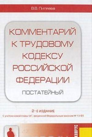 Kommentarij k trudovomu kodeksu Rossijskoj Federatsii. Postatejnyj
