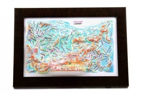 Russia High raised relief panorama. 3D Souvenir map 10 cm.