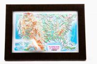 USA. Amerikka. Kohokuviokartta. 3D Matkamuistokartta