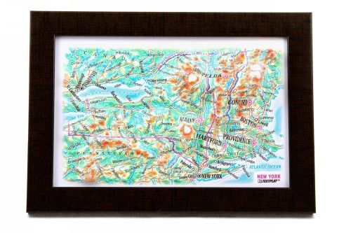 New York State. High raised relief panorama. 3D Souvenir map 10 cm.