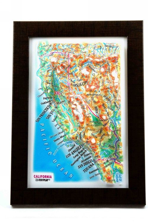 California. High raised relief panorama. 3D Souvenir map 10 cm.