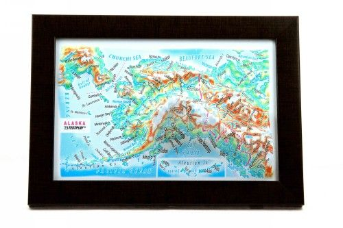 Alaska. High raised relief panorama. 3D Souvenir map 10 cm.