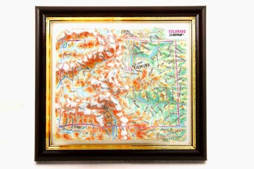 Colorado. High raised relief panorama. 3D Souvenir map 10 cm.