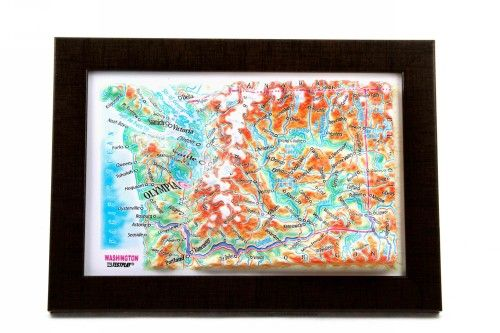 Washingon State. High raised relief panorama. 3D Souvenir map 10 cm.