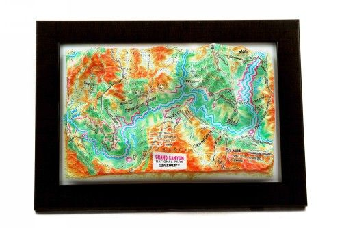 Grand Canyon. High raised relief panorama. 3D Souvenir map 10 cm.