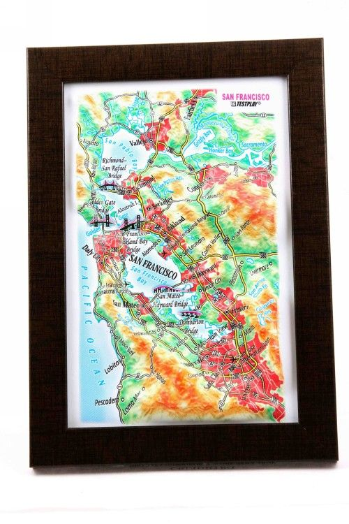 San Francisco. High raised relief panorama. 3D Souvenir map 10 cm.