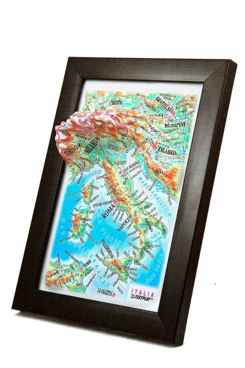 Italy. High raised relief panorama. 3D Souvenir map 10 cm.