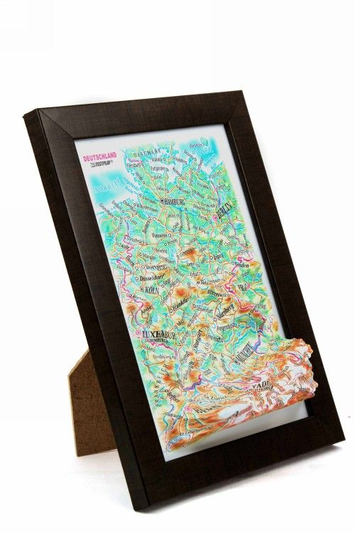 Germany. High raised relief panorama. 3D Souvenir map 10 cm.