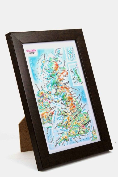United Kingdom. High raised relief panorama. 3D Souvenir map 10 cm.
