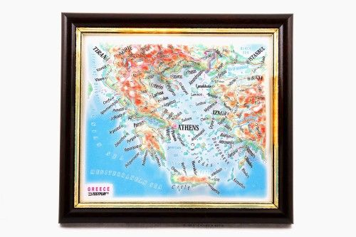 Greece. High raised relief panorama. 3D Souvenir map 10 cm.