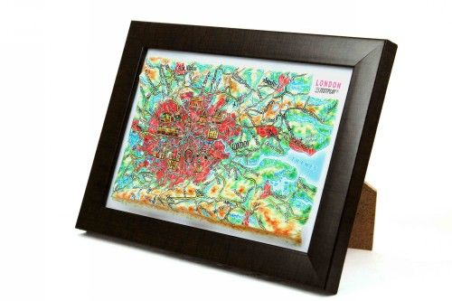London. High raised relief panorama. 3D Souvenir map 10 cm.