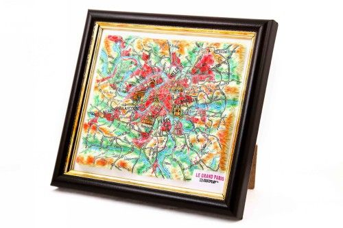 Paris. High raised relief panorama. 3D Souvenir map 10 cm.