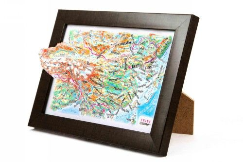 China. High raised relief panorama. 3D Souvenir map 10 cm.