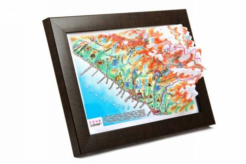 Sochi. High raised relief panorama. 3D Souvenir map 10 cm.