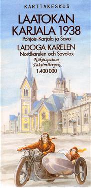Laatokan Karjala 1938, 1:400 000 - Pohjois-karjala ja savo näköispainos v. 1938 tiekartasta