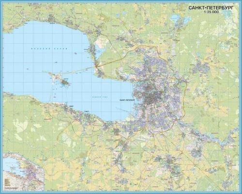 Saint Petersburg office wall map, with suburbs, 2 sheets. width 126 х height 200 cm. 1:35 000 (in Russian) Total size 252x200 cm.