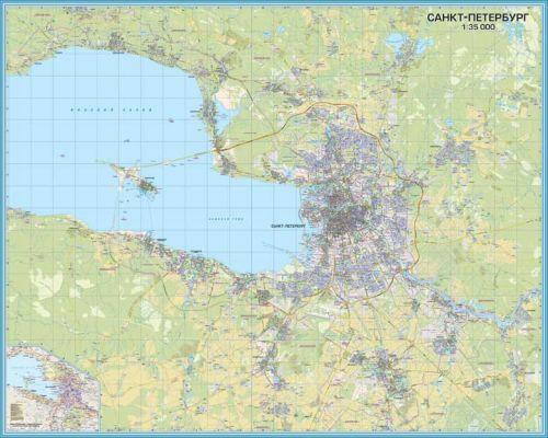 Санкт-Петербург (город федерального подчинения). 2 настенных офисных карты. Ширина 126 см х высота 200 см. Масштаб 1:35 000.
