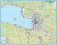 Pietarin alueen seinäkartta. 1:35 000. 2 seinäkartan setti, kukin 126 cm leveys х 200 cm korkeus, yhdistettynä rinnakkain 252x200. Mittakaava: 1:35 000.
