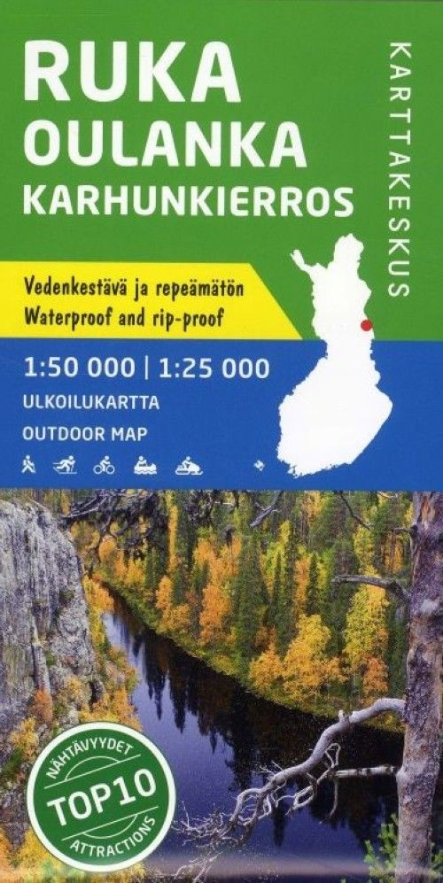 Rukatunturi-Oulanka (Beartrail) outdoormap, 1:50 000.