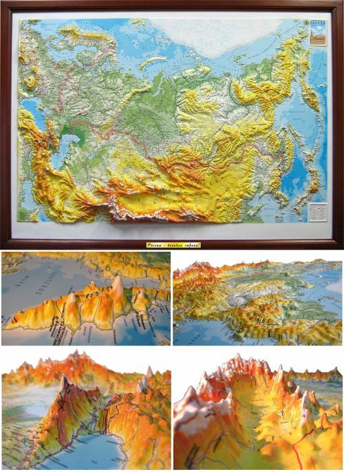 Wall map of Russia and the neighboring countries. A high raised (3D) relief panorama.