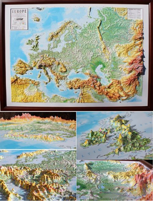 Wall map of Europe. All names in English. A high raised (3D) relief panorama.