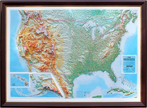 Wall map of the USA. All captions in English. A high raised (3D) relief panorama. 1120*800*85 mm