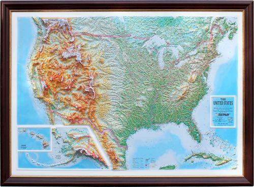 Высокообъемная панорамная карта «США», 1120*800*85 мм