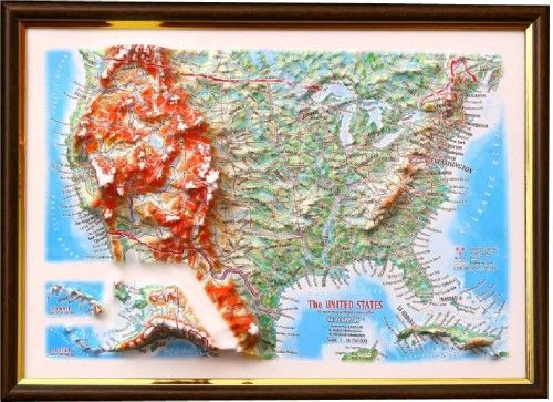 USA. 3 D relief wall map with panorama effect  330*248*30 mm