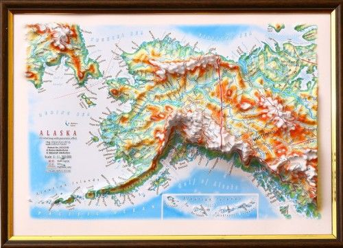 ALASKA. 3 D relief wall map with panorama effect  330*248*30 mm