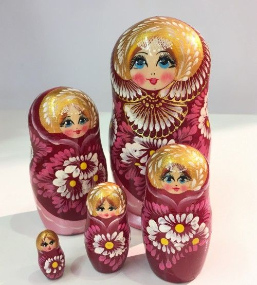 Matryoshka Alyonushka, red, big, 5 items