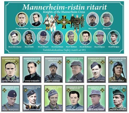 Matchboxes set Knights of the Mannerheim Cross. Set 5