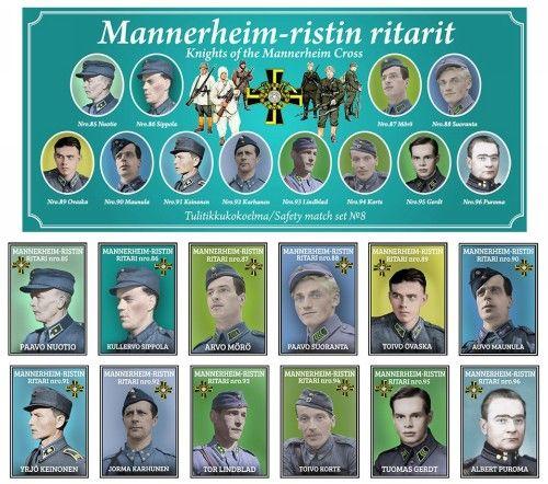 Matchboxes set Knights of the Mannerheim Cross. Set 8.
