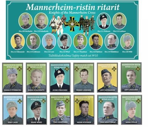 Matchboxes set Knights of the Mannerheim Cross. Set 10.
