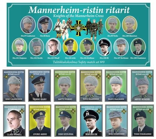 Matchboxes set Knights of the Mannerheim Cross. Set 9