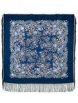 Павловопосадский платок - Мария, синий. Шелковая бахрома, 89*89 см