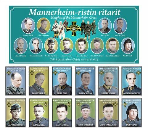 Tulitikkuja. Mannerheim-ristin ritarit. Osa 14. 12 rasiaa