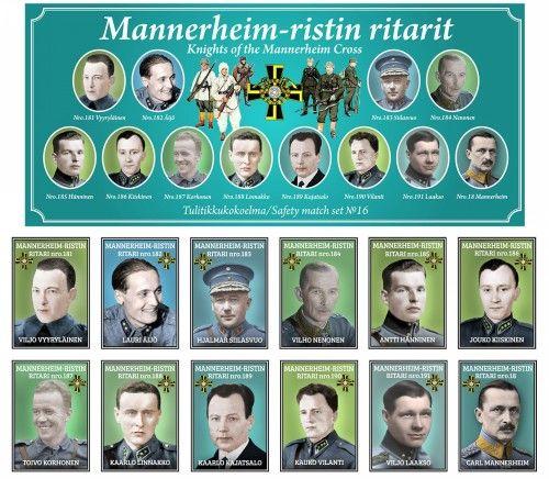 Matchboxes set Knights of the Mannerheim Cross. Set 16
